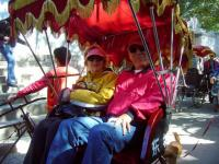 Foreign Visitors Visit Beijing Alley by Rickshaw