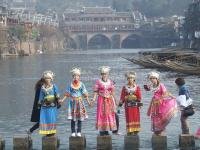 Girls in Traditional Miao Costume in Fenghuang Old Town