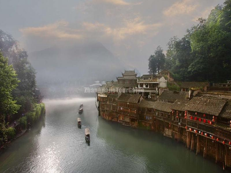 The Tuo River in Fenghuang Old Town in Mist