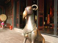 The Green (Bronze) Ram Statue in Chengdu Green Ram Temple