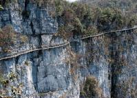 A Plank Road Built along A Cliff in Tianmen Mountains