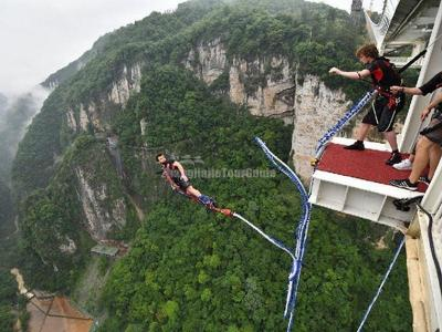 Zhangjiajie Grand Canyon Glass Bridge Bungee Jump