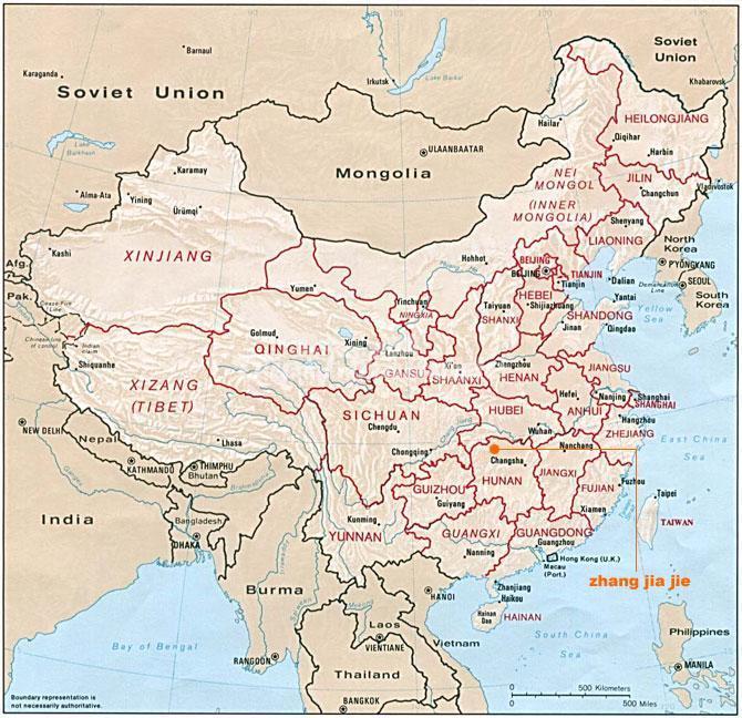 Zhangjiajie in China Map on