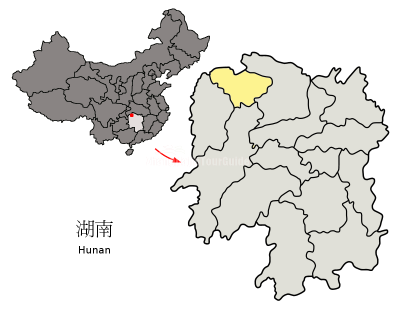 Zhangjiajie in Hunan Province Map