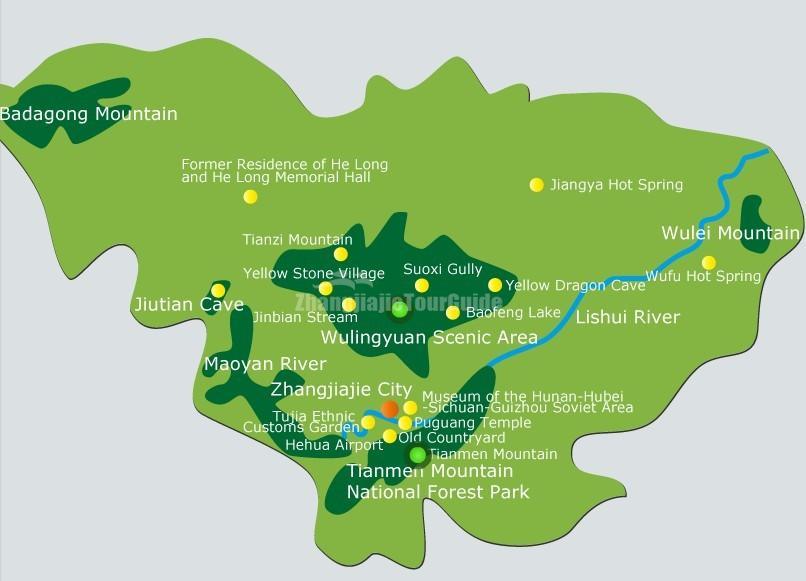 on zhangjiajie china map